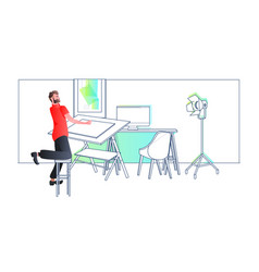 architect drawing on adjustable board panning vector image
