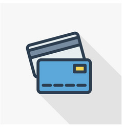bank card thin line flat color icon linear vector image
