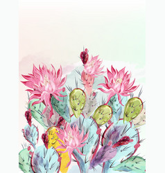 beautiful cactus design in watercolor style vector image