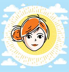 beautiful women face human head redhead character vector image