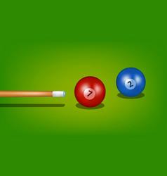 Billiard cue and two balls vector