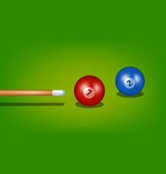 billiard cue and two billiard balls vector image