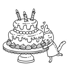 birthday cake with candle and cute cat vector image