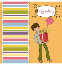 Birthday card with boy vector