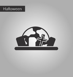 Black and white style icon halloween cemetery full vector