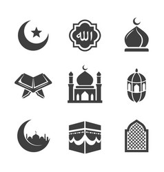 black islamic icons set vector image
