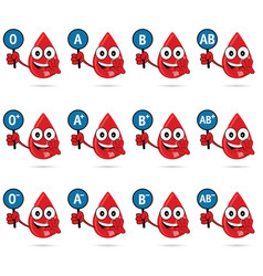 Blood group icon type with drop set vector