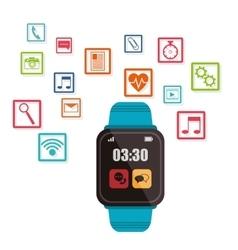 Blue smart watch wearable technology vector