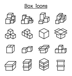 Boxes icon set in thin line style vector