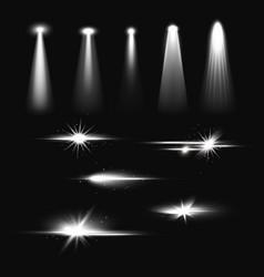 bright spotlights beams flash and light effect vector image