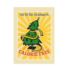 Calorie free christmas tree tape measure vector