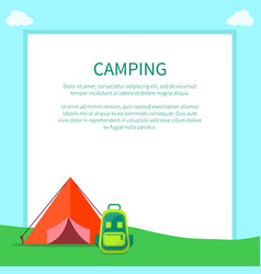 Camping accessories rucksack and a-frame tent vector