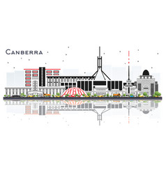 Canberra australia city skyline with gray vector