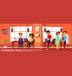 Cartoon coworking space with people vector