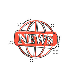 Cartoon globe news icon in comic style world news vector