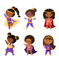 Cartoon superhero girls clipart set vector