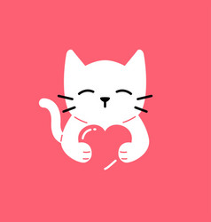 Cat love cute smile hug lover logo icon vector