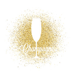 champagne glass on golden glitter abstract vector image