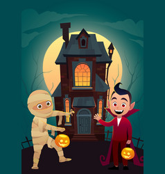 children in monster costumes mummy and dracula at vector image