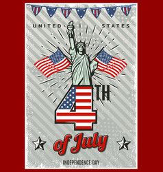colored vintage independence day poster vector image