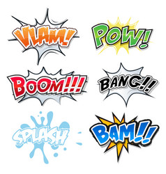comic text bomb explosions and pop art style vector image