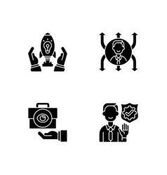 Company mission black glyph icons set on white vector