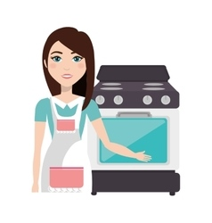 cooker woman with oven vector image