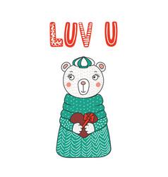 Cute bear with a heart vector