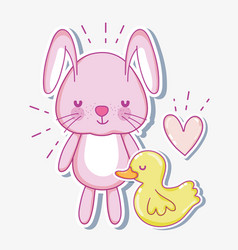 Cute bunny cartoon card vector
