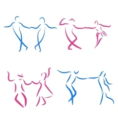 Dancing couple logo set vector image