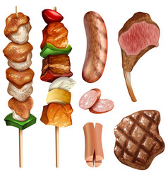 different types of bbq and steaks vector image