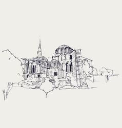 Drawing sketch kariye museum istanbul vector