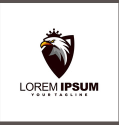 eagle head crown logo design vector image