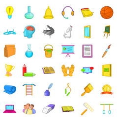 Education in school icons set cartoon style vector