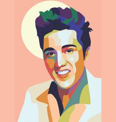 elvis presley color pop art style vector image