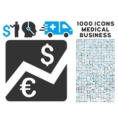 Euro Forex Market Icon with 1000 Medical Business vector image