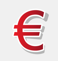 euro sign new year reddish icon with vector image