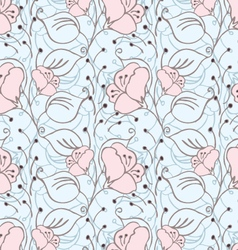 Fabric design flower pink on blue vector