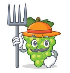 Farmer green grapes character cartoon vector