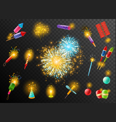 firework crackers pyrotechnic dark background vector image