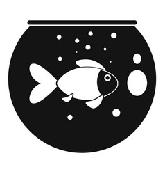 fish round aquarium icon simple style vector image