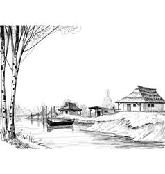 Fishing village sketch vector