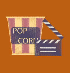Flat icon in shading style popcorn cinema vector