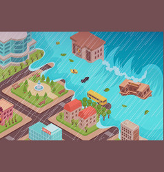 Flood disaster isometric composition vector