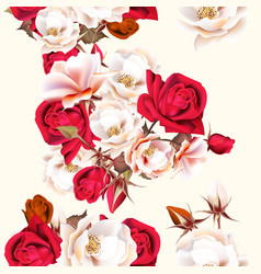 floral seamless pattern with white and red roses vector image