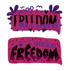 Freedom quote concept design word vector