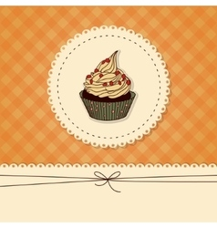 Funny card invitation with a cupcake and place vector