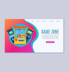 Game zone web template arcade vector