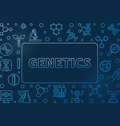 Genetics outline blue concept horizontal vector