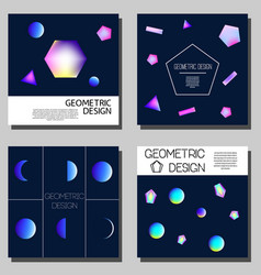 geometric neon holographic cards cover design vector image